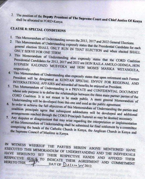 CORD MOU that Raila signed with Kalonzo and Wetangula