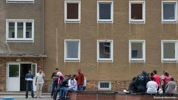 Asylum seekers at an asylum home