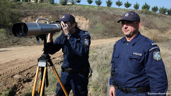Greek and European Frontex officers patrol along the EU's external border with Turkey to prevent illegal immigrants from entering the EU.