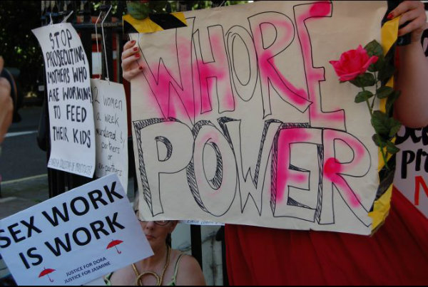 Sex workers demonstrate for rights in London. (Corinne Purtill/GlobalPost)