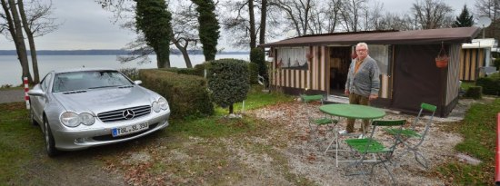 Manfred Moser, 70, calls his tiny abode on Lake Starnberg a paradise.