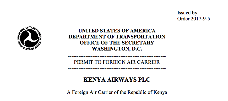 KQ US licence