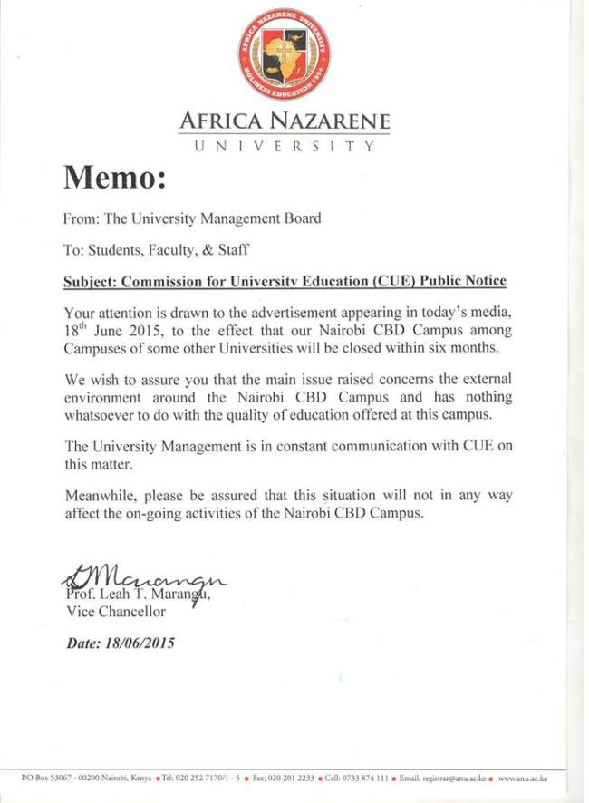nazarene university closure memo