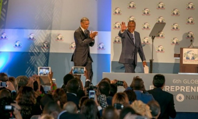 President Obama and Uhuru entering to open the GES2015