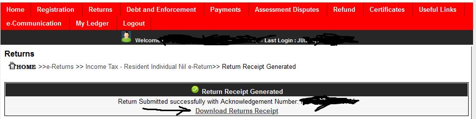 Success returns message