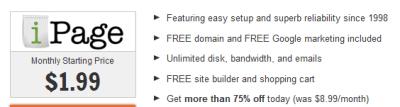 best ecommerce webhosting ipage