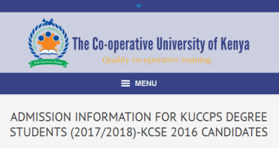 Co-operative University of Kenya KUCCPS 2017 admission letters for government sponsored