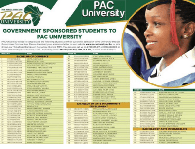 Pan Africa Christian University, PAC 2017 KUCCPS Admission letters, fee structure