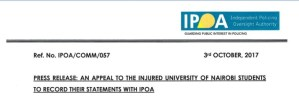IPOA Requests University of Nairobi Police Brutality Victims to Record Statements