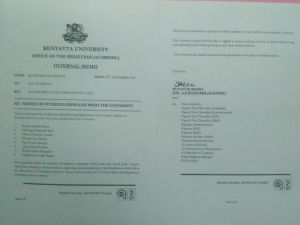 memo of student expelled from Kenyatta University