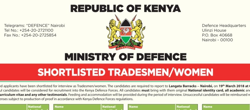 List of Shortlisted candidates as Tradesmen and tradeswomen for Interviews, KDF 2018 recruitment