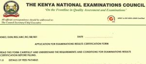 KNEC exams results certification and forms download