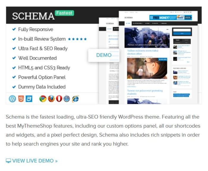 Schema WordPress theme. Most SEO friendly WP theme with fast load speed
