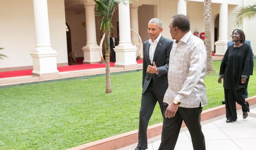 Uhuru Kenyatta with Barack Obama in Kenya, July 2018