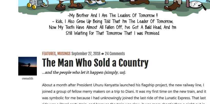 """Summary of """"The Man Who Sold a Country """" by Owaahh about kenya, corruption and kenyatta's"""