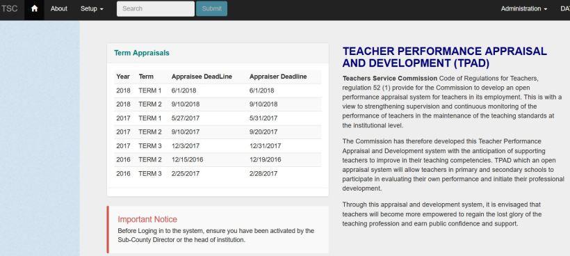 Procedure on how fill Teacher Performance Appraisal on TPAD official website tpad.tsc.go.ke 83