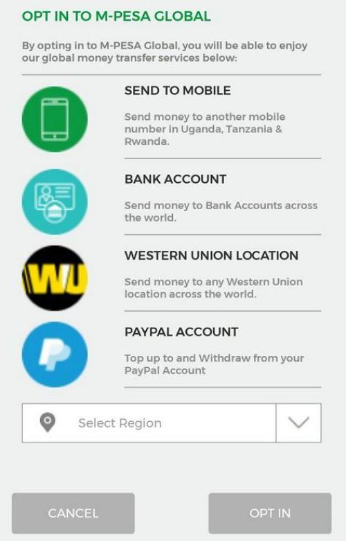 Mpesa to Western Union on Mysafaricom App Mpesa Global