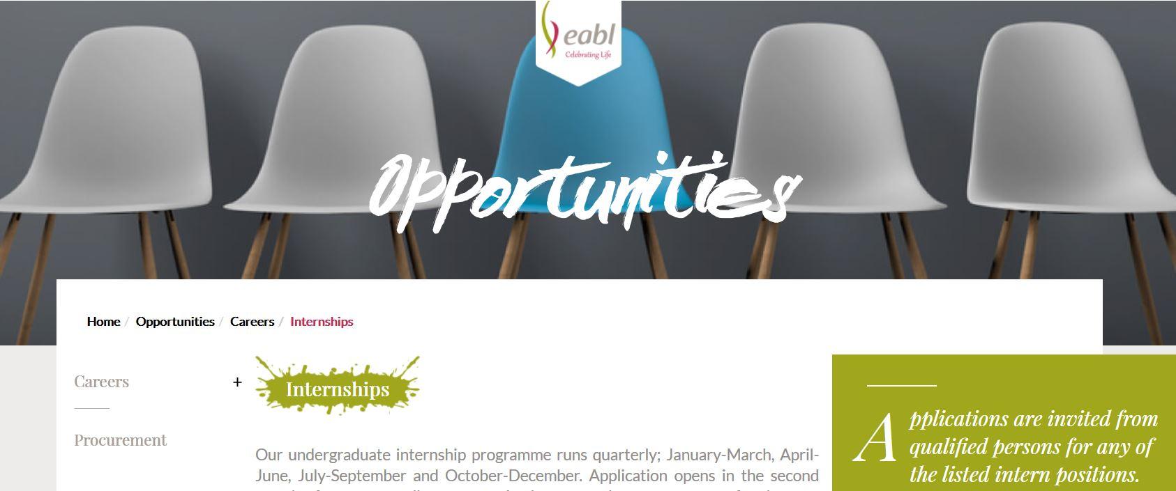 EABL Job, Internship Requirements and sample interview questions pdf