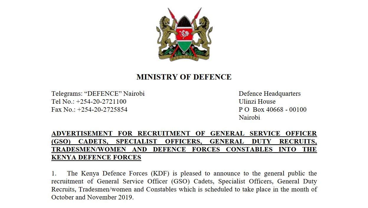 KDF November 2019 recruitment Tradesmen men and women application guide