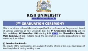 Update on December 2019 Kisii University 7th Graduation Ceremony and list
