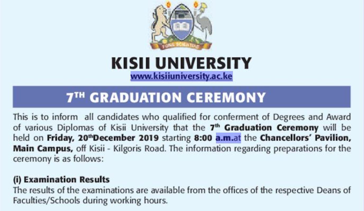 Update on December 2019 Kisii University 7th Graduation Ceremony and list