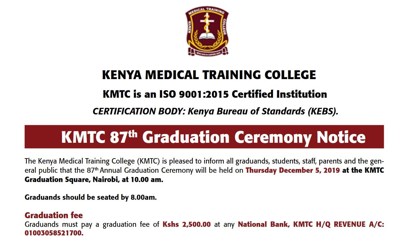 update on KMTC 87th Graduation Ceremony and list scheduled on 5th December 2019