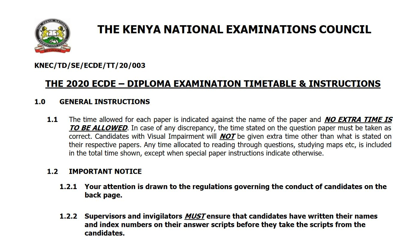 ECDE KNEC Timetable 2020 for Diploma Examinations