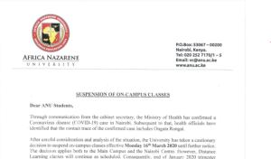 Africa Nazarene University Suspends Classes over Coronavirus fears