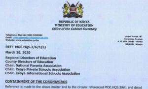 Ministry of education guidelines of transporting students after schools were closed over coronavirus