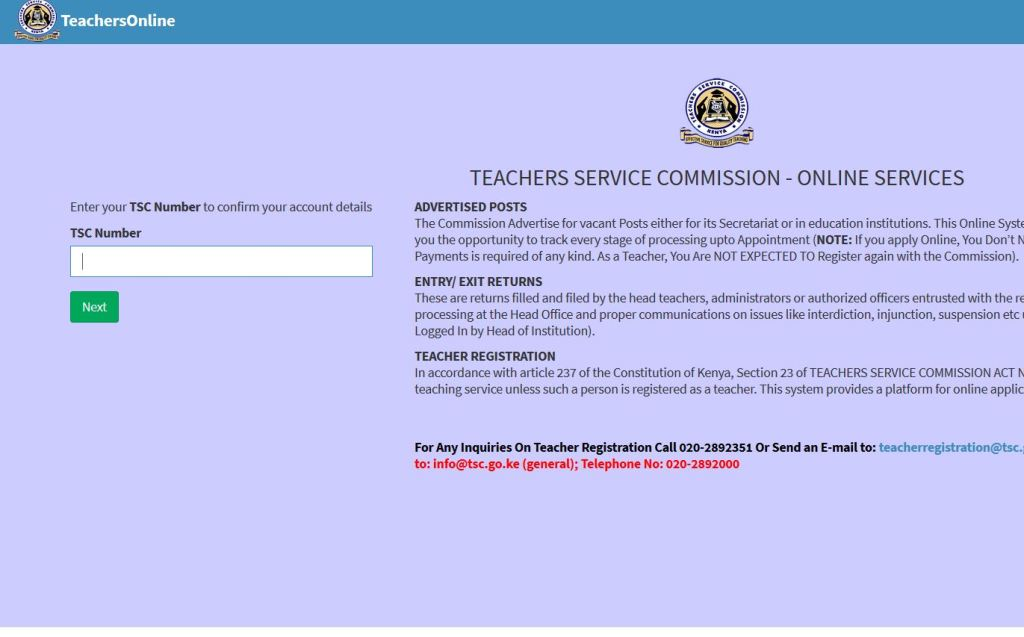 TSC Teachers online portal website registration and login guide