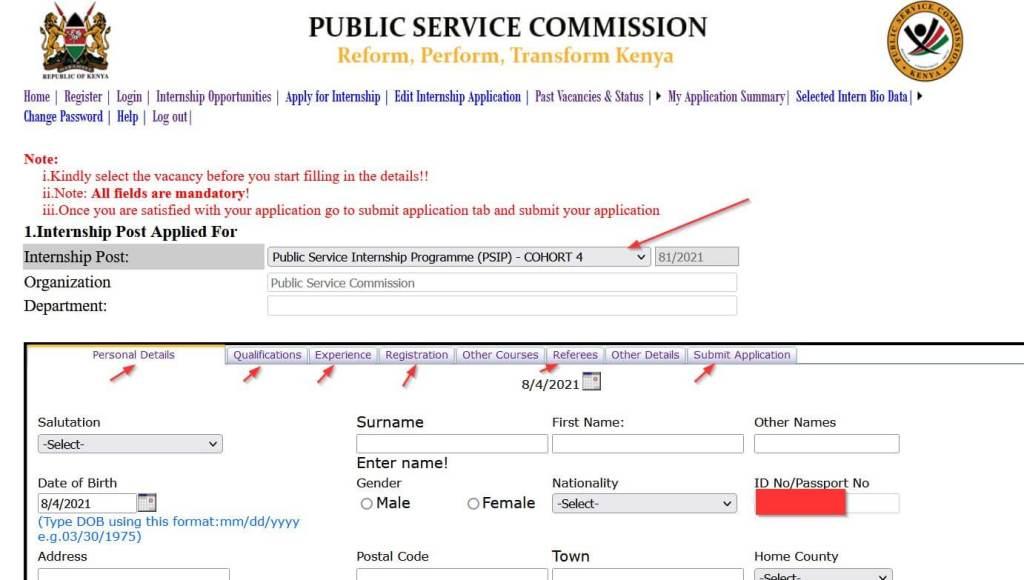PSC internship online application form