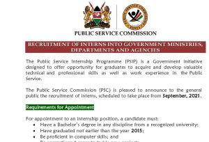 Public service internship programme (PSIP) 2021 application via PSC jobs portal