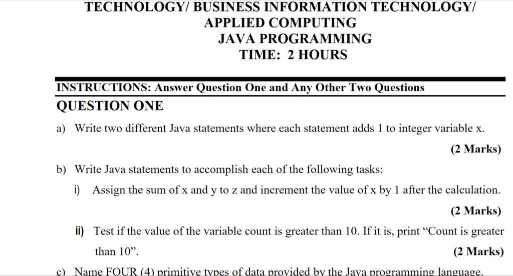 java programming revision past paper questions and answers