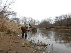 Sarah Dendy prepares to sample near the bank of the Kokosing River at an access point on Riley Chapel Road just upriver of the Muskingum Watershed Conservancy District.