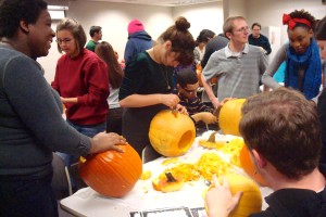 Many of the students joined the Association of Cultural Exchange for their pumpkin carving event after International Conversation Hour.