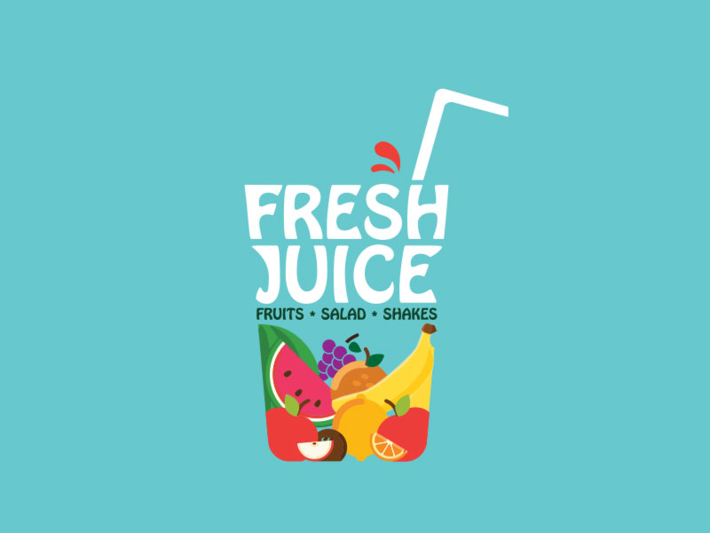 keon designs fresh juice graphics logo
