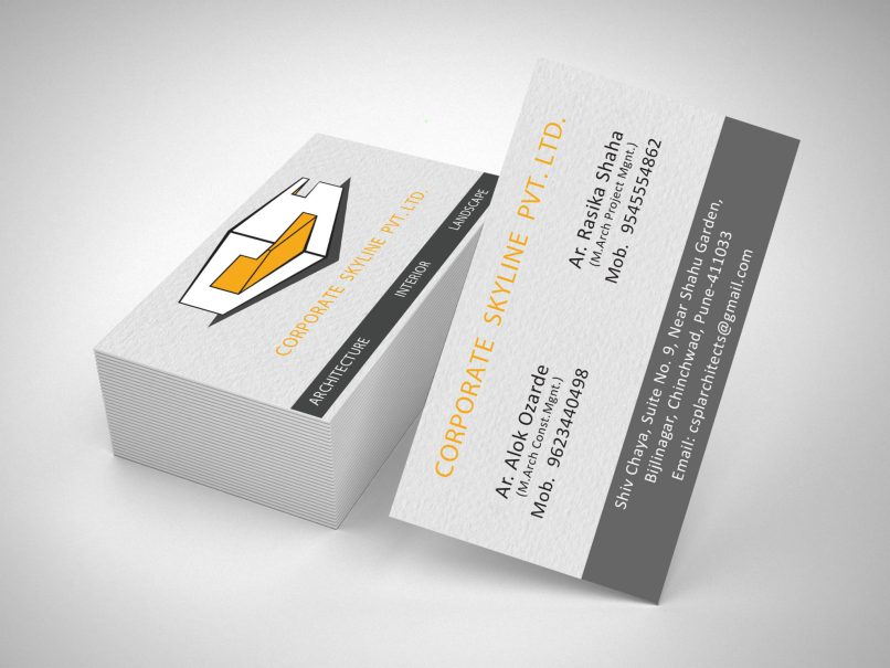 Visiting Card Design for CSPL or Corporate Skyline Private Limited an Corporate Interior Design Consultancy, a client of Keon Designs