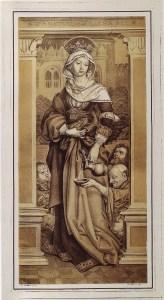 Elisabeth von Thüringen, Kreidelithographie nach Hans Hohlbein d.Ä. Quelle: Wikipedia