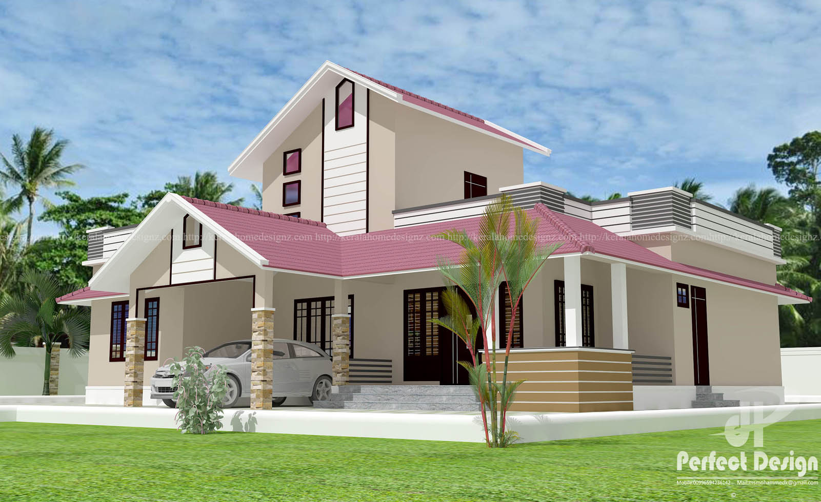 Single Storey Sloping Roof Home Kerala Home Design