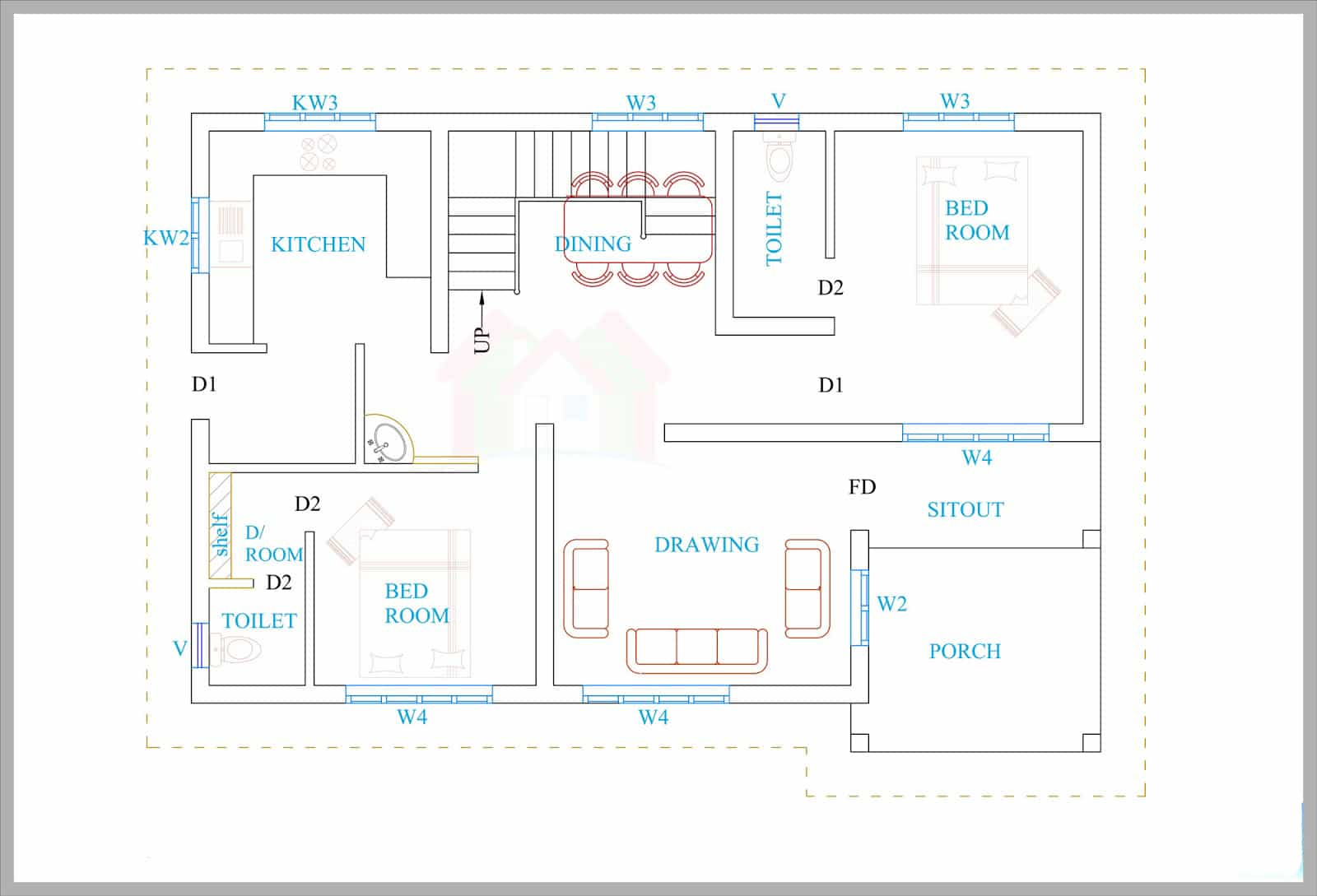 Kerala House Plans For A 1600 Sq.ft 3BHK House