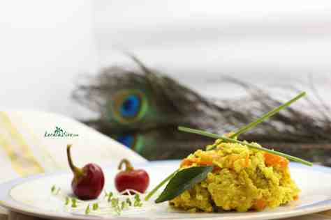 Avial is a delicious mix of vegetables in a light, delicately spiced yoghurt gravy.