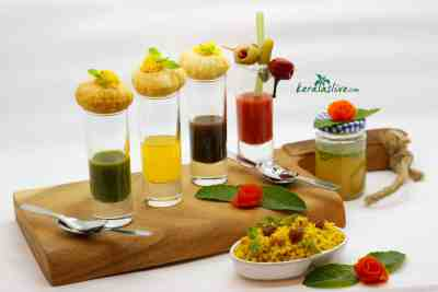 A gastronomic transformations of the pani puri with bloody mary. Instead of potato we are using spiced couscous, and for panis( water) green chutney, tamarind chutney and orange juice pani.