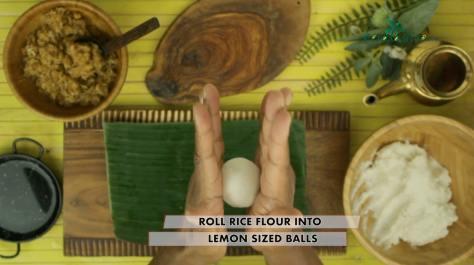 roll rice flour into lemon sized balls