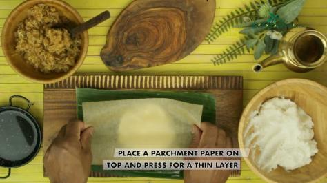 place a parchment paper on top and press into a thin layer