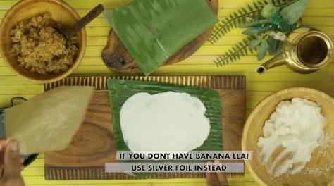if you don't have banana leaf use silver foil instead
