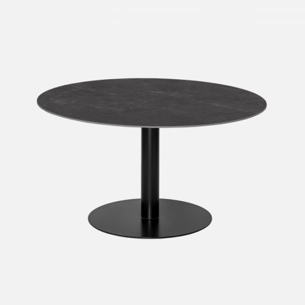 Keramische tafels Rond Giorgia nero opaco zwart marmerlook blad