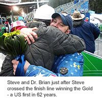 Steve Holcomb and Dr. Brian after winning the Gold Medal