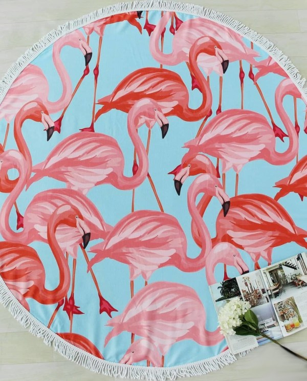 Flamingós kerek törölköző