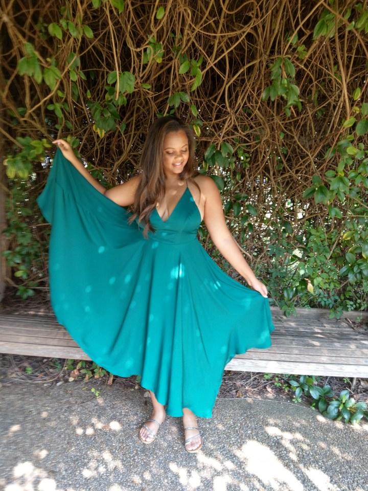 Keri Elaine Atlanta Botanical Gardens emerald green a-line dress and ivy leaves