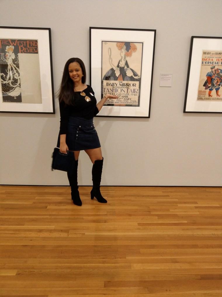 Thigh high boots, movement, beautiful black woman, blvgari sunglasses, High Museum of art.
